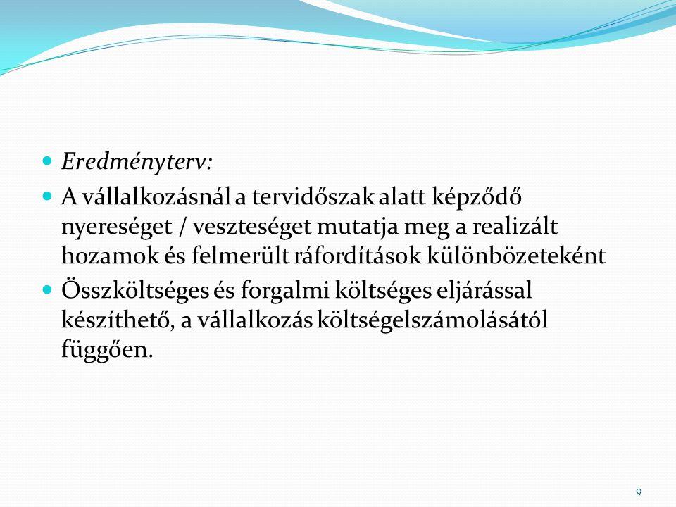 Eredményterv: