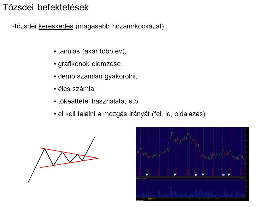 Tőzsdei befektetések tőzsdei kereskedés (magasabb hozam/kockázat):