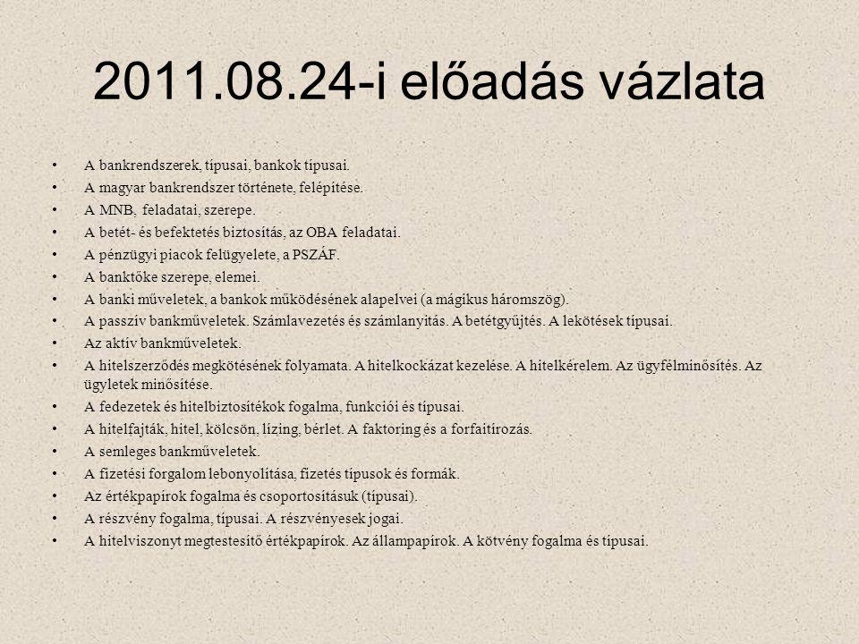 2011.08.24-i előadás vázlata A bankrendszerek, típusai, bankok típusai. A magyar bankrendszer története, felépítése.