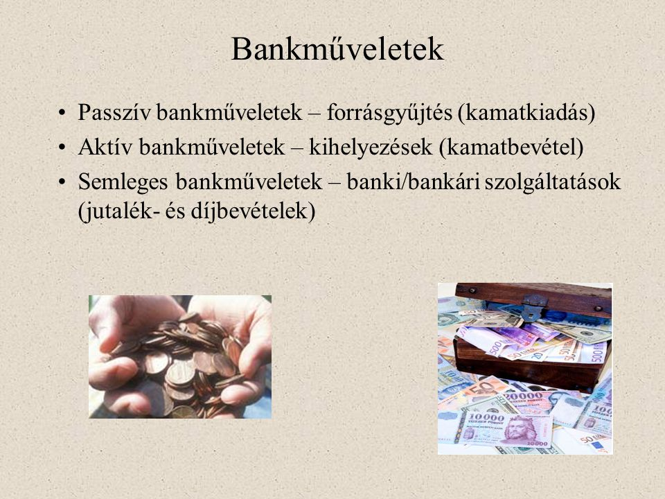 Bankműveletek Passzív bankműveletek – forrásgyűjtés (kamatkiadás)