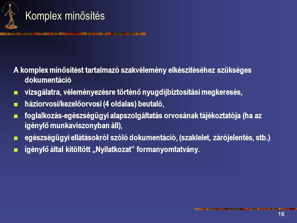 Komplex minősítés A komplex minősítést tartalmazó szakvélemény elkészítéséhez szükséges dokumentáció.