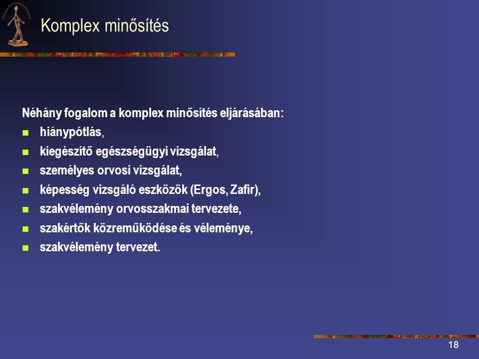 Komplex minősítés Néhány fogalom a komplex minősítés eljárásában: