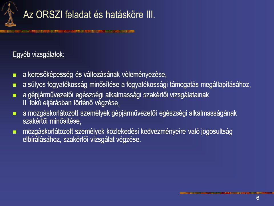 Az ORSZI feladat és hatásköre III.