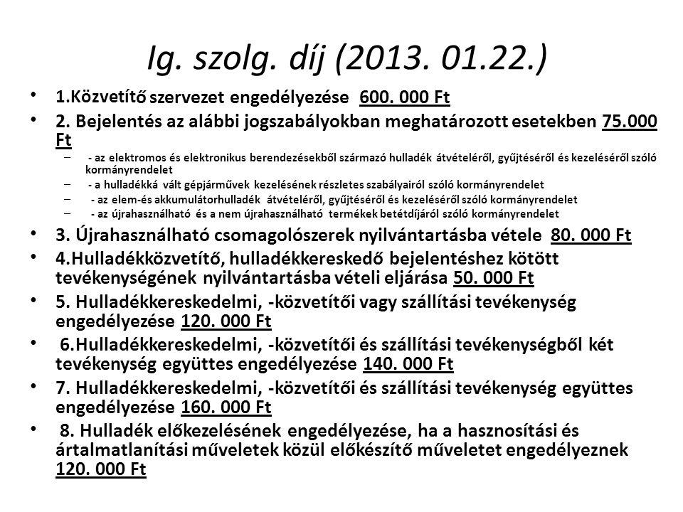 Ig. szolg. díj (2013. 01.22.) 1.Közvetítő szervezet engedélyezése 600. 000 Ft.