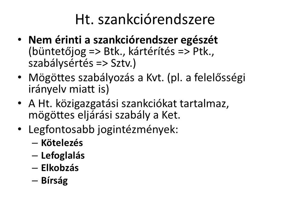 Ht. szankciórendszere Nem érinti a szankciórendszer egészét (büntetőjog => Btk., kártérítés => Ptk., szabálysértés => Sztv.)