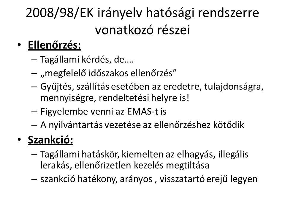 2008/98/EK irányelv hatósági rendszerre vonatkozó részei