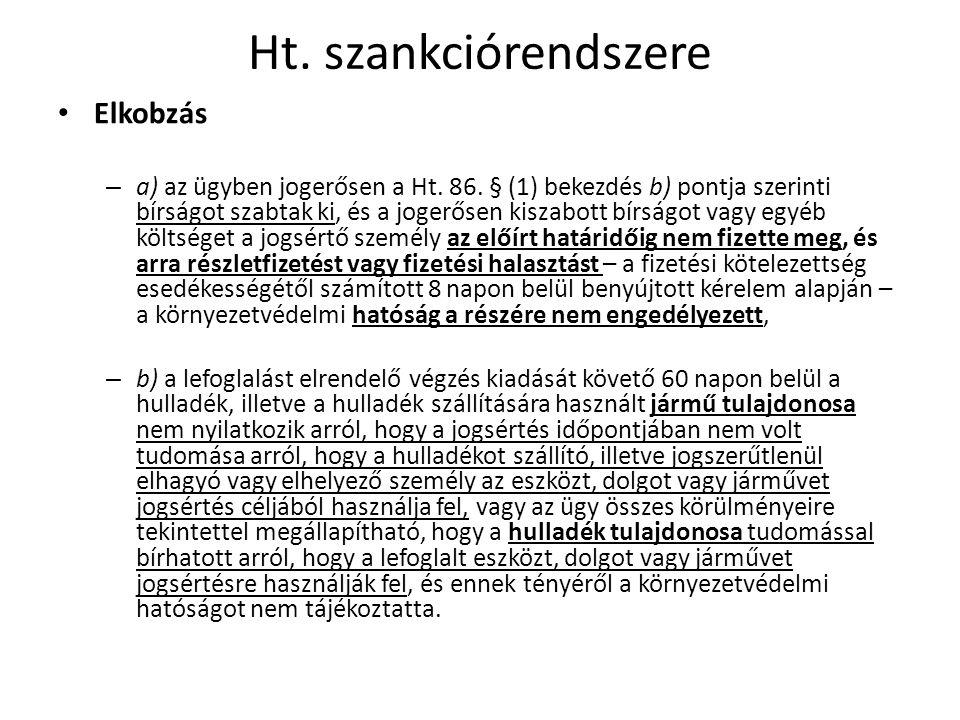 Ht. szankciórendszere Elkobzás