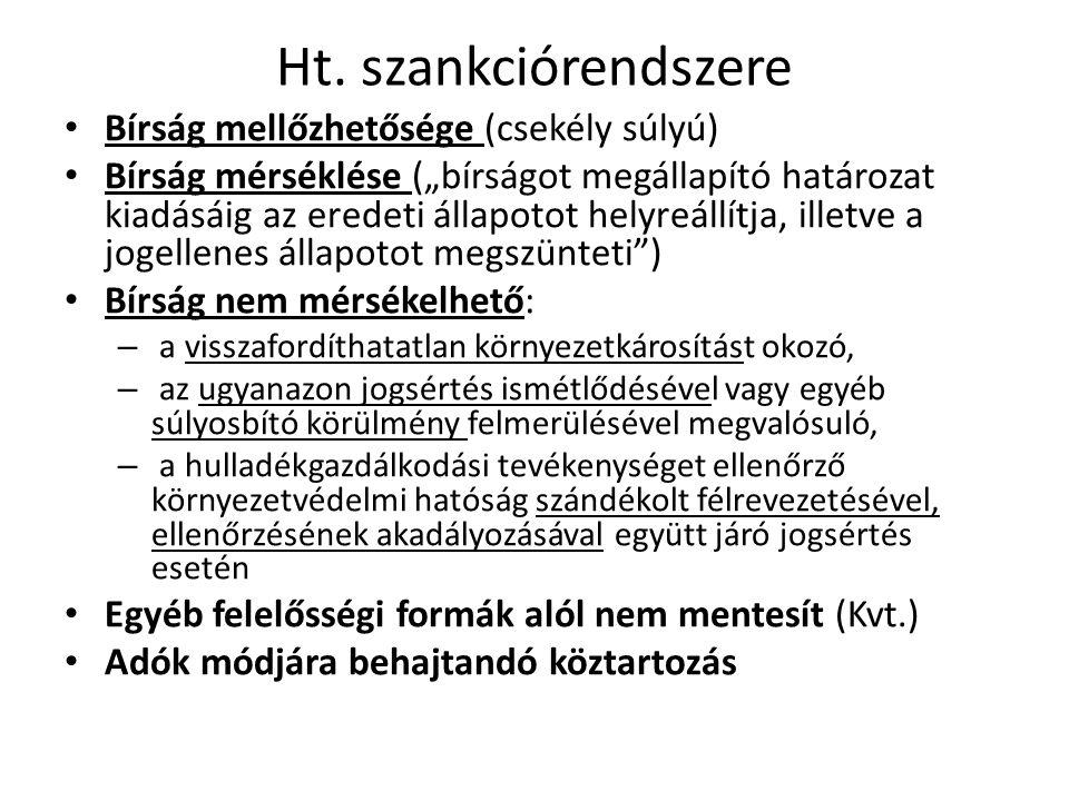 Ht. szankciórendszere Bírság mellőzhetősége (csekély súlyú)