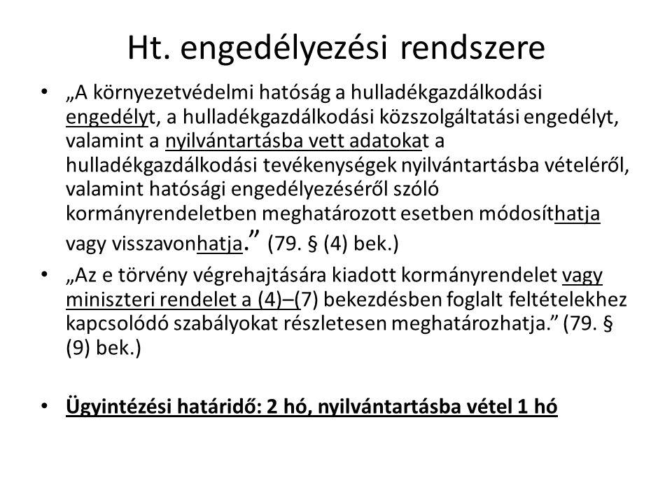 Ht. engedélyezési rendszere