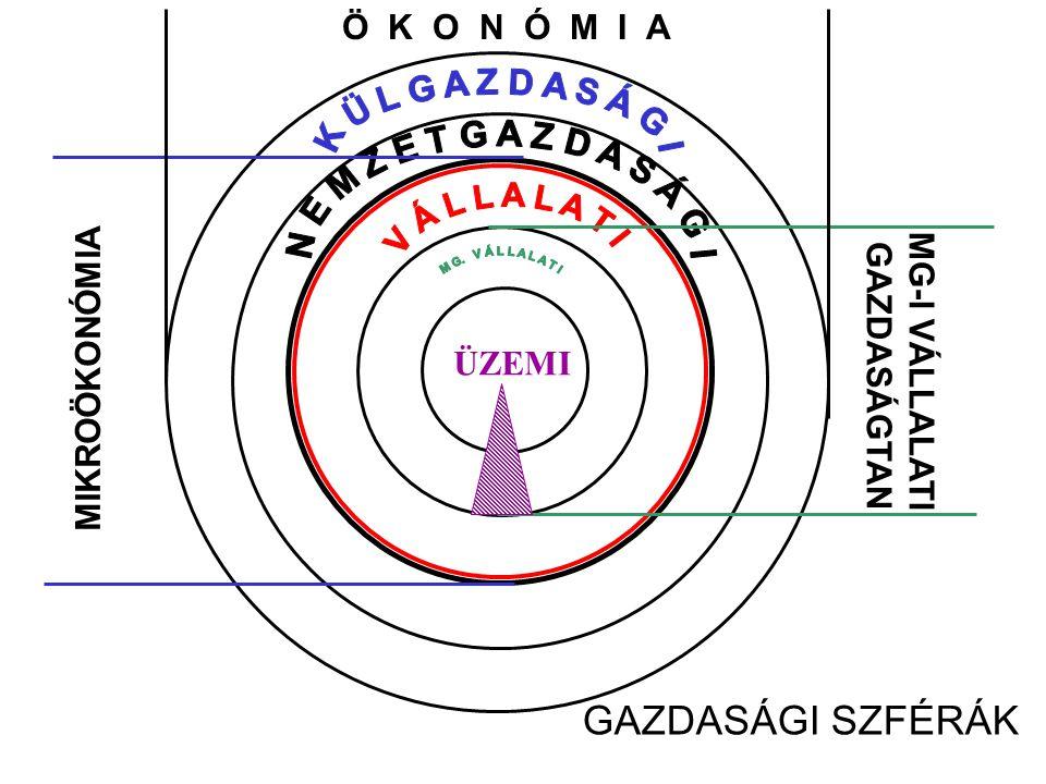 GAZDASÁGI SZFÉRÁK Ö K O N Ó M I A MG-I VÁLLALATI GAZDASÁGTAN ÜZEMI