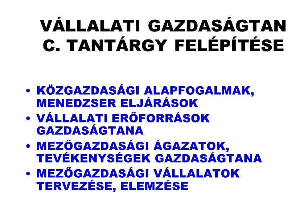 VÁLLALATI GAZDASÁGTAN C. TANTÁRGY FELÉPÍTÉSE