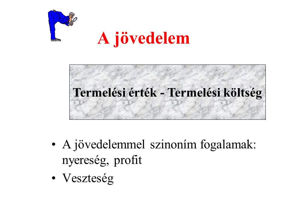 Termelési érték - Termelési költség