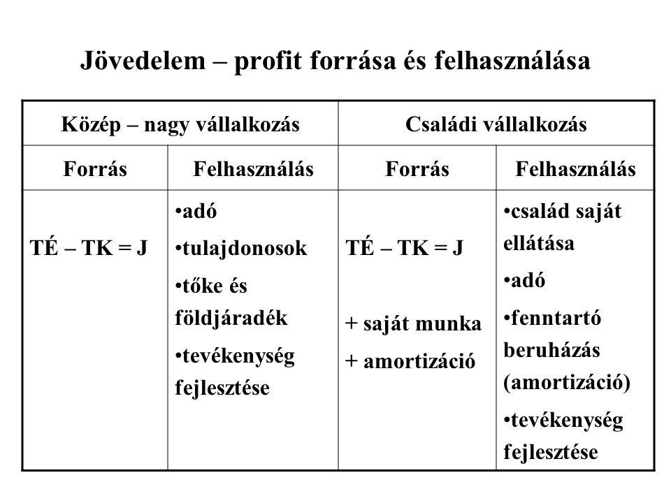 Jövedelem – profit forrása és felhasználása