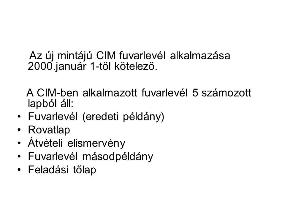 Az új mintájú CIM fuvarlevél alkalmazása 2000.január 1-től kötelező.