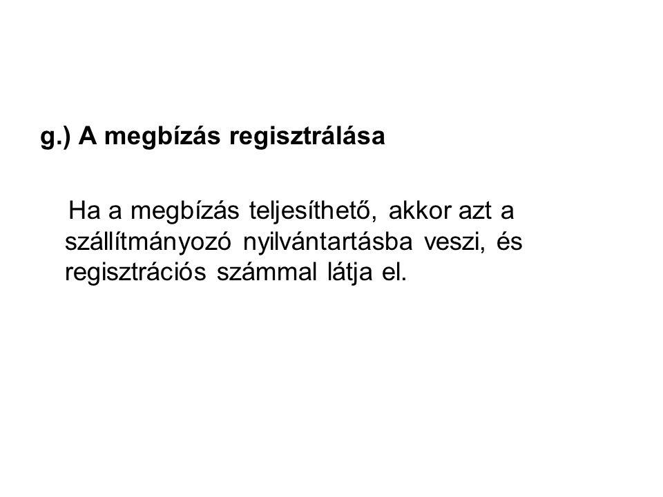 g.) A megbízás regisztrálása