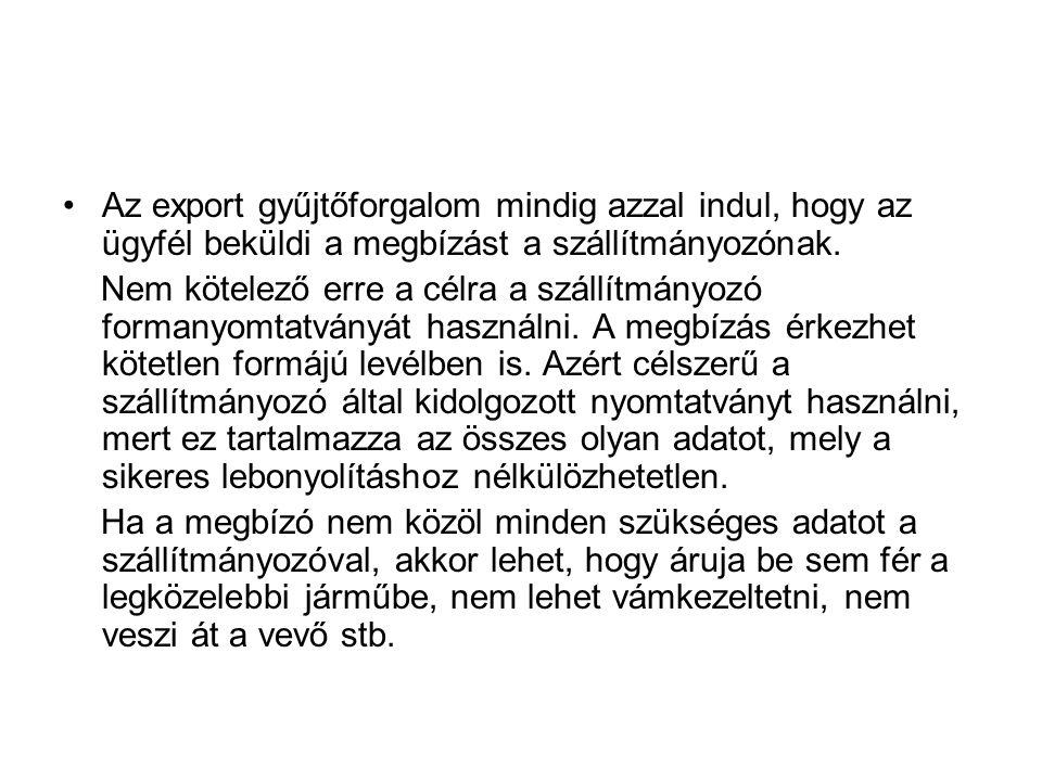 Az export gyűjtőforgalom mindig azzal indul, hogy az ügyfél beküldi a megbízást a szállítmányozónak.