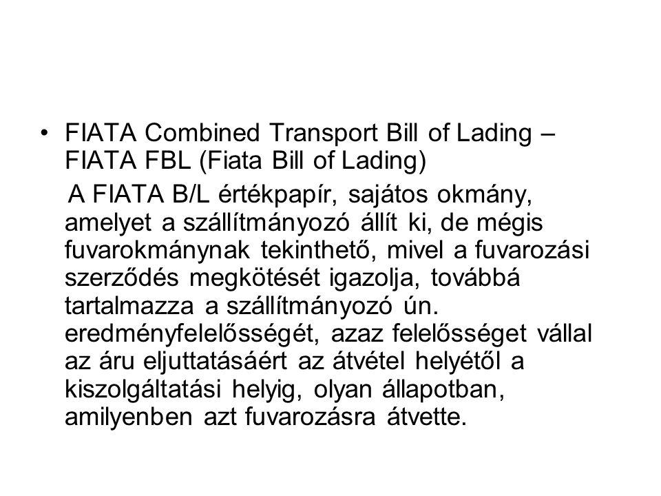 FIATA Combined Transport Bill of Lading – FIATA FBL (Fiata Bill of Lading)