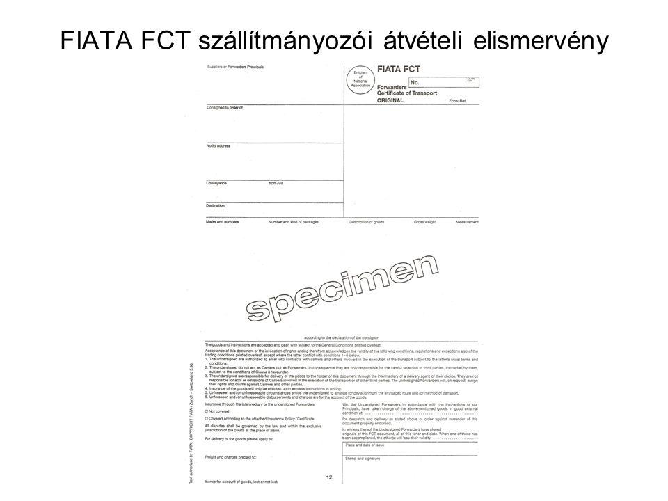 FIATA FCT szállítmányozói átvételi elismervény