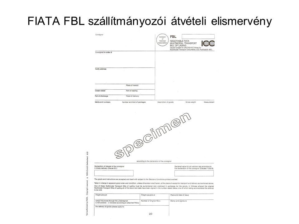 FIATA FBL szállítmányozói átvételi elismervény