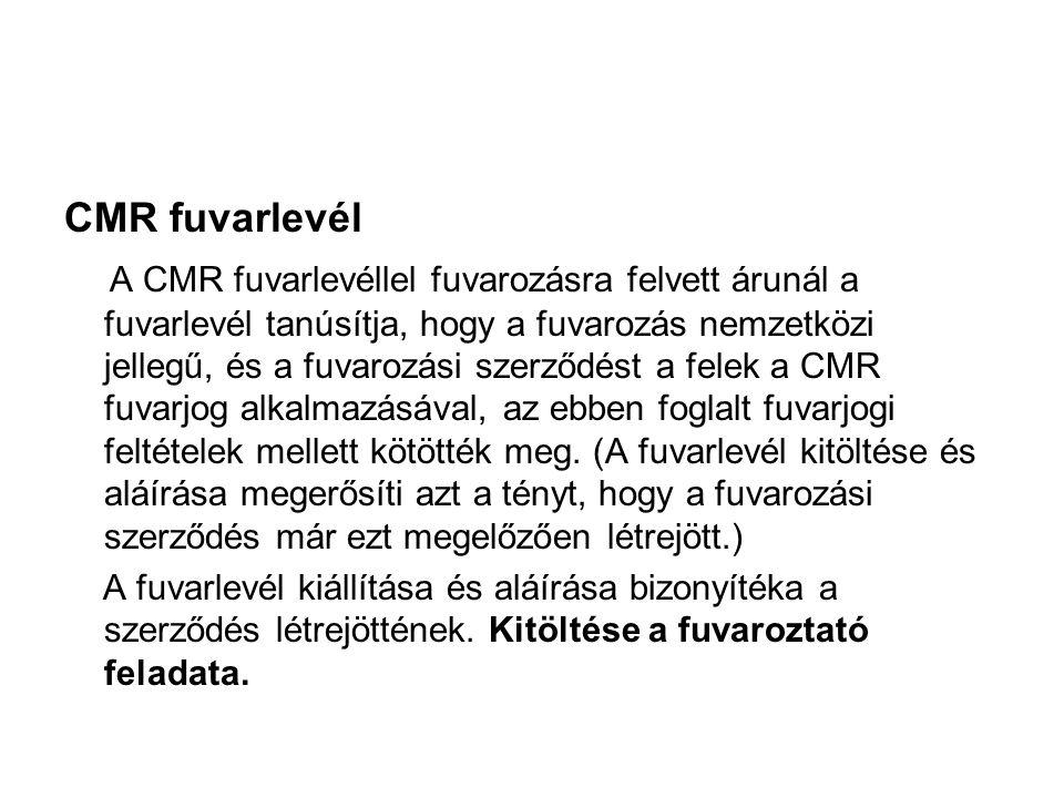 CMR fuvarlevél
