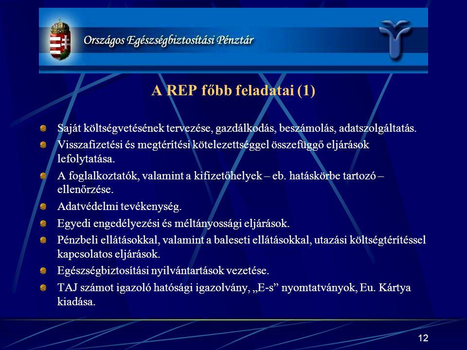 A REP főbb feladatai (1) Saját költségvetésének tervezése, gazdálkodás, beszámolás, adatszolgáltatás.