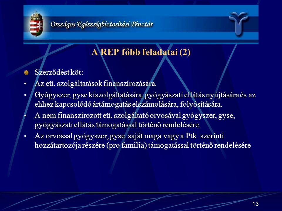 A REP főbb feladatai (2) Szerződést köt: