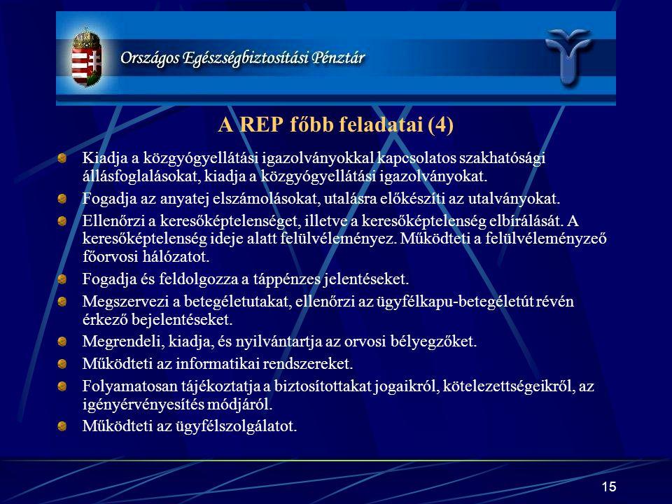 A REP főbb feladatai (4)