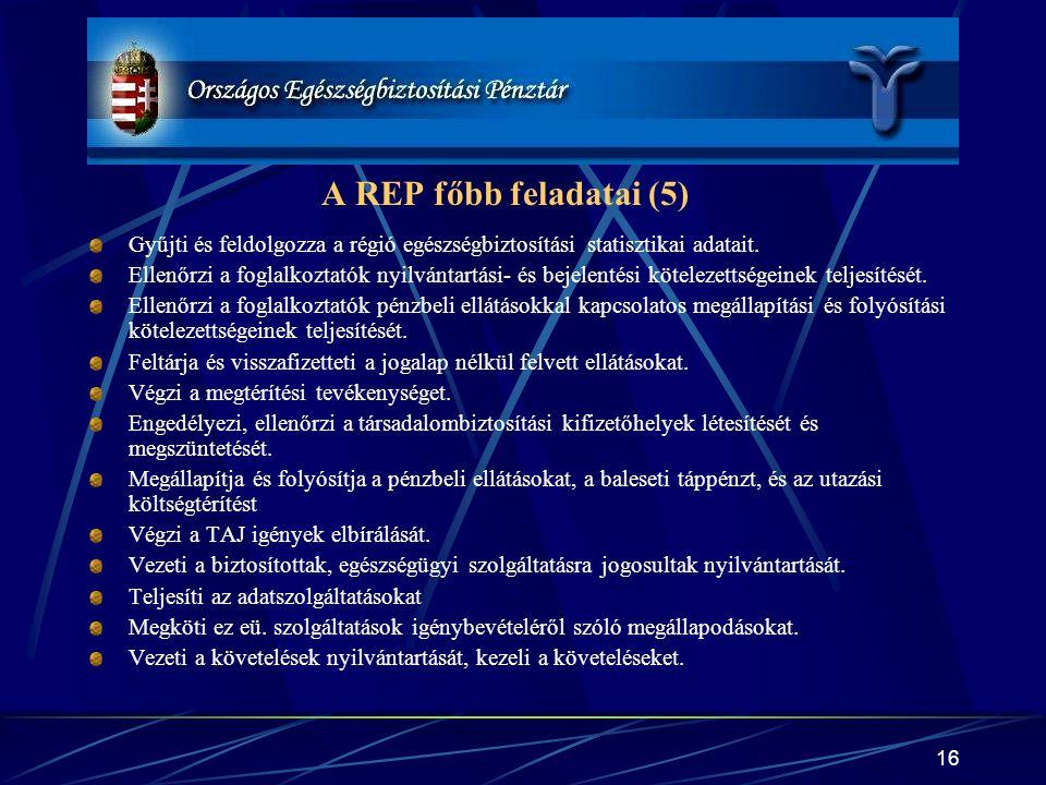 A REP főbb feladatai (5) Gyűjti és feldolgozza a régió egészségbiztosítási statisztikai adatait.