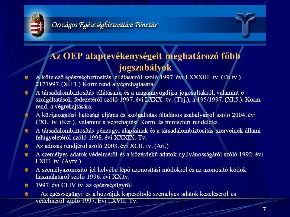 Az OEP alaptevékenységeit meghatározó főbb jogszabályok