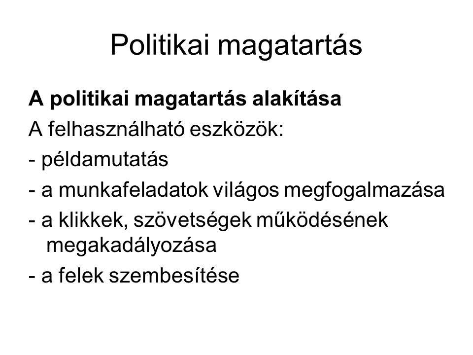 Politikai magatartás A politikai magatartás alakítása