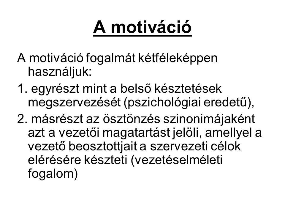 A motiváció A motiváció fogalmát kétféleképpen használjuk: