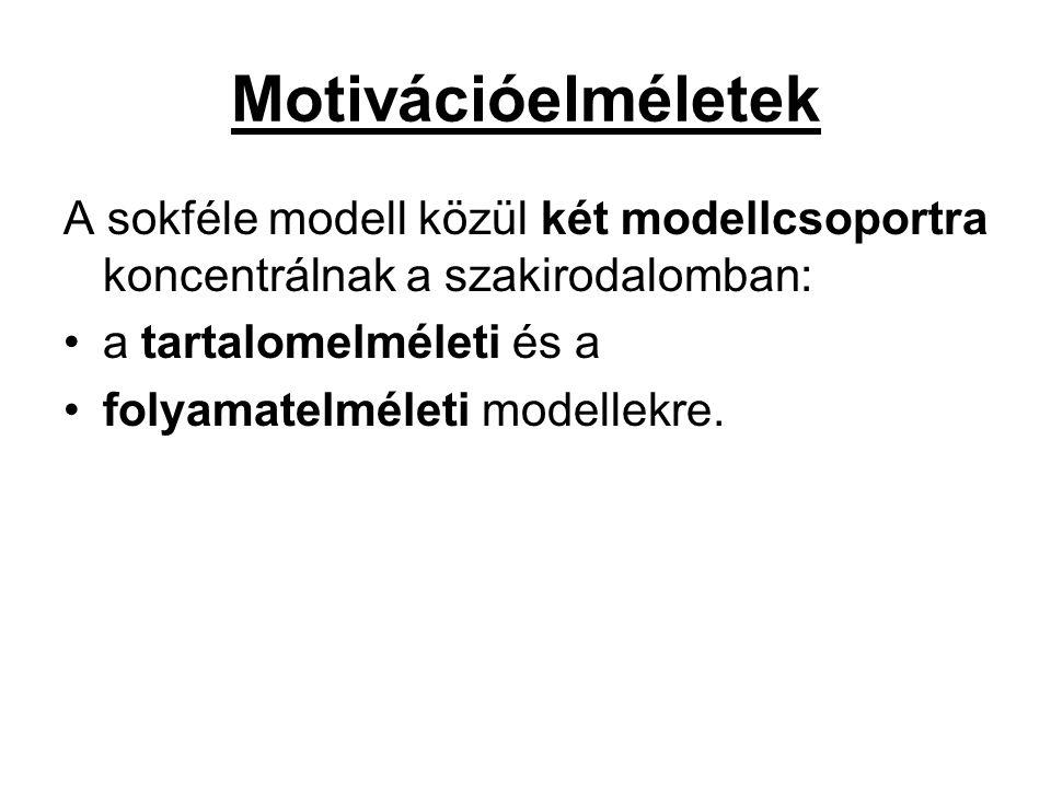 Motivációelméletek A sokféle modell közül két modellcsoportra koncentrálnak a szakirodalomban: a tartalomelméleti és a.
