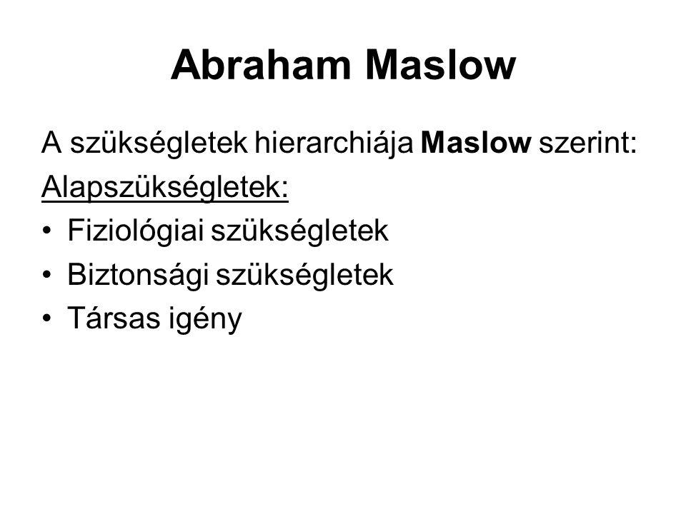 Abraham Maslow A szükségletek hierarchiája Maslow szerint:
