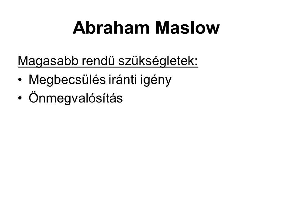 Abraham Maslow Magasabb rendű szükségletek: Megbecsülés iránti igény
