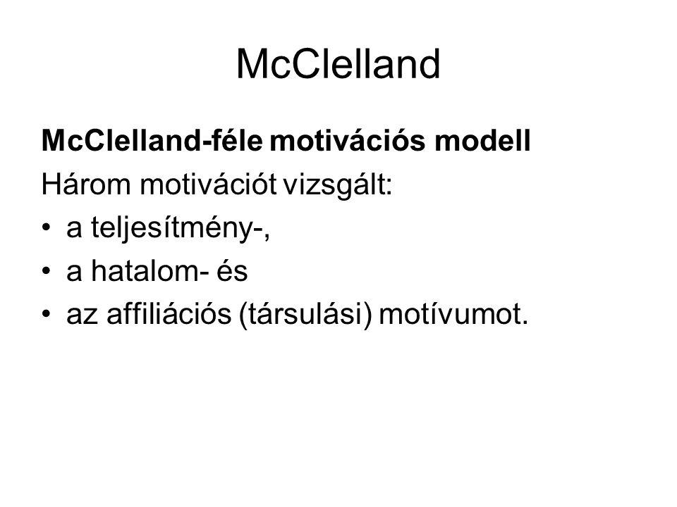 McClelland McClelland-féle motivációs modell