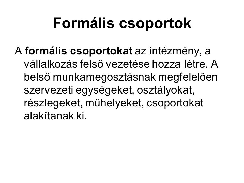 Formális csoportok