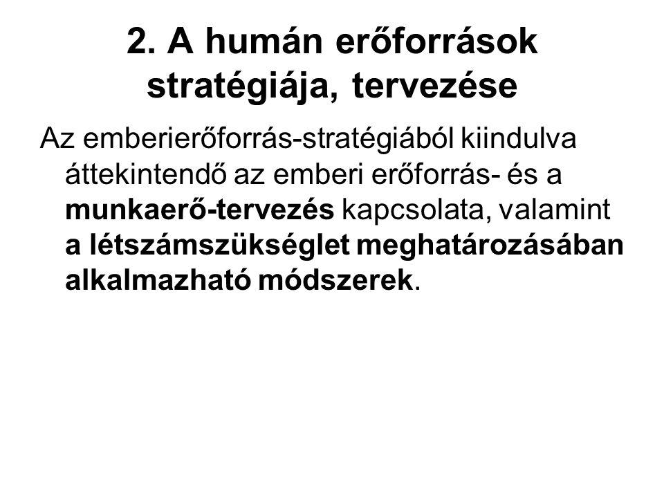 2. A humán erőforrások stratégiája, tervezése
