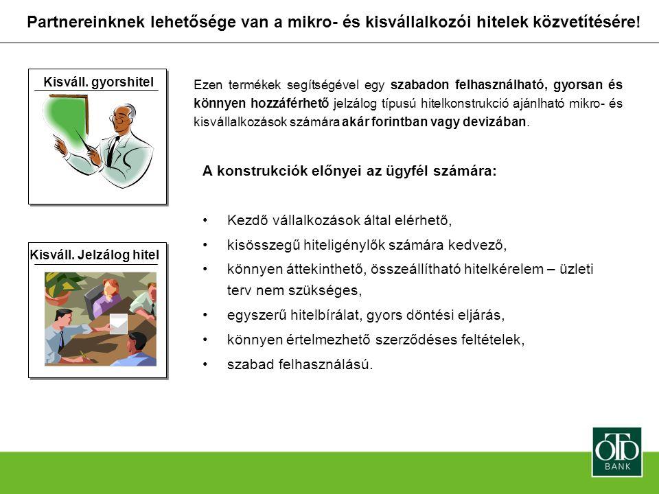 Partnereinknek lehetősége van a mikro- és kisvállalkozói hitelek közvetítésére!