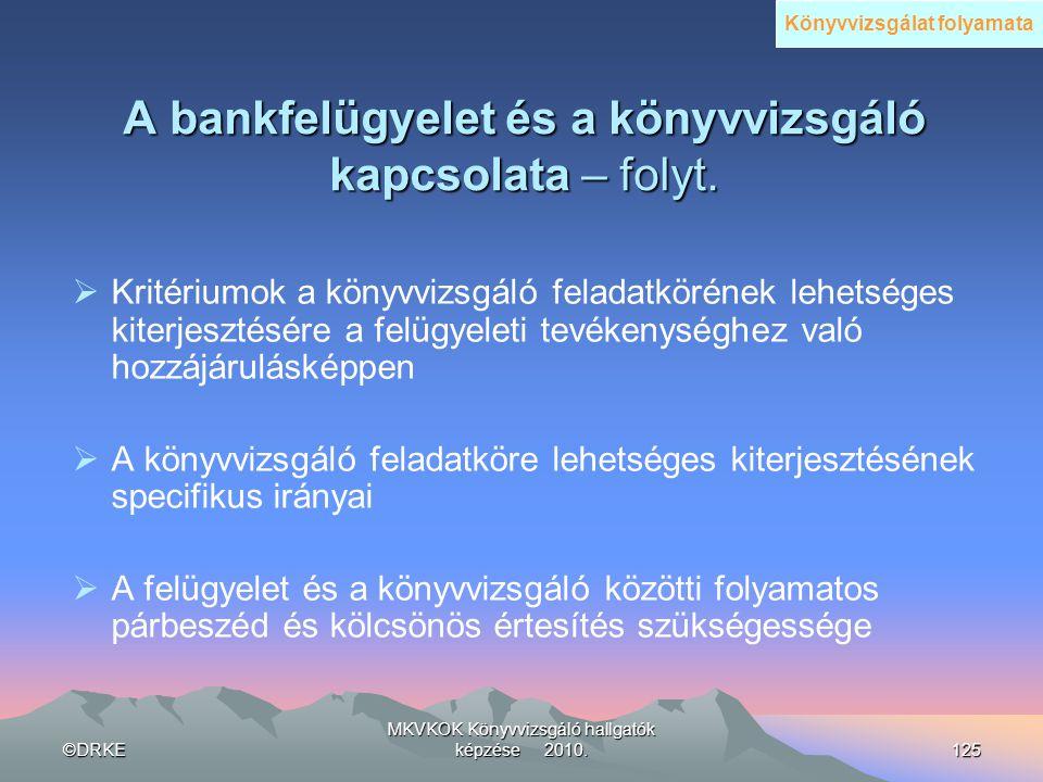 A bankfelügyelet és a könyvvizsgáló kapcsolata – folyt.