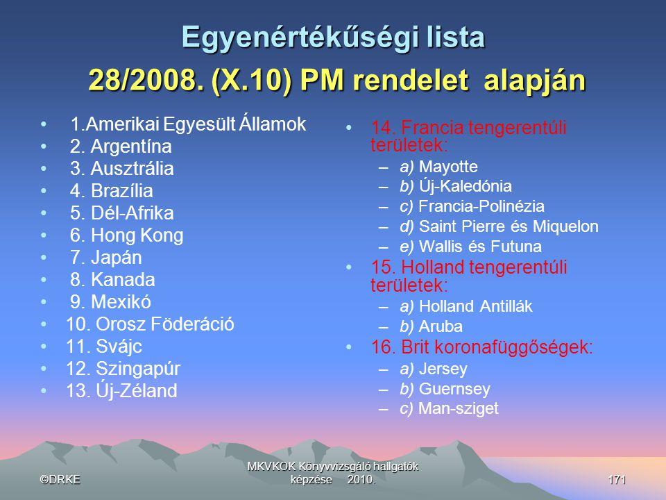 Egyenértékűségi lista 28/2008. (X.10) PM rendelet alapján