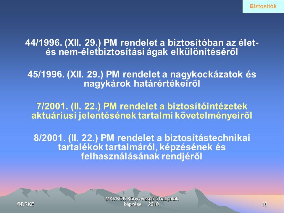 MKVKOK Könyvvizsgáló hallgatók képzése 2010.