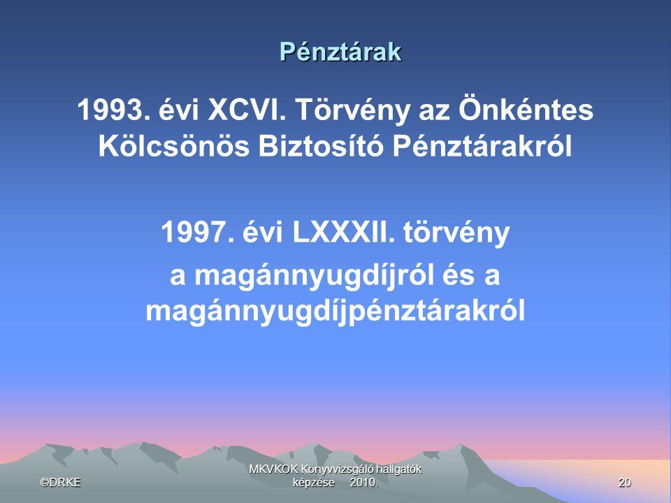 1993. évi XCVI. Törvény az Önkéntes Kölcsönös Biztosító Pénztárakról