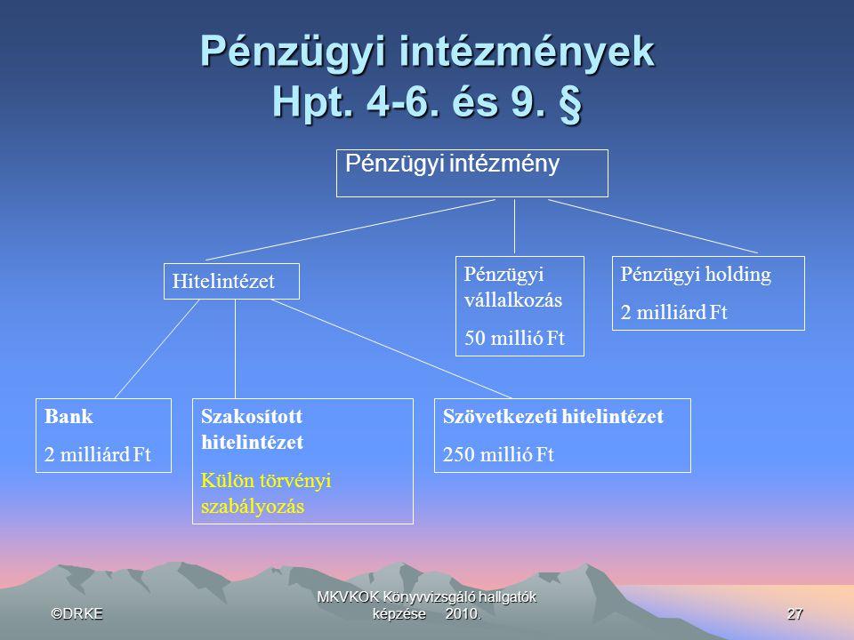 Pénzügyi intézmények Hpt. 4-6. és 9. §