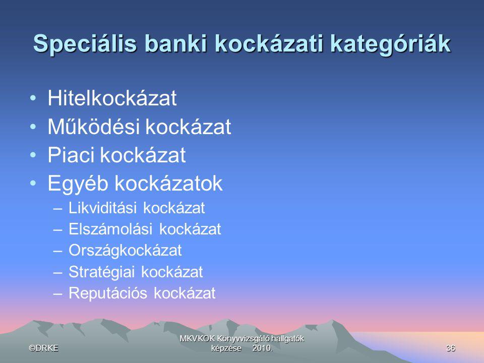 Speciális banki kockázati kategóriák