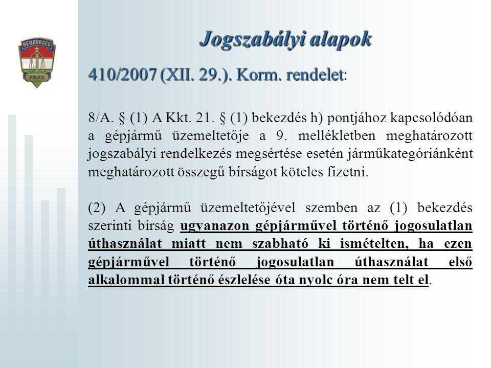 Jogszabályi alapok 410/2007 (XII. 29.). Korm. rendelet:
