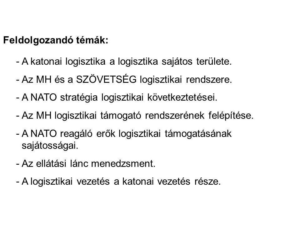 Feldolgozandó témák: - A katonai logisztika a logisztika sajátos területe. - Az MH és a SZÖVETSÉG logisztikai rendszere.