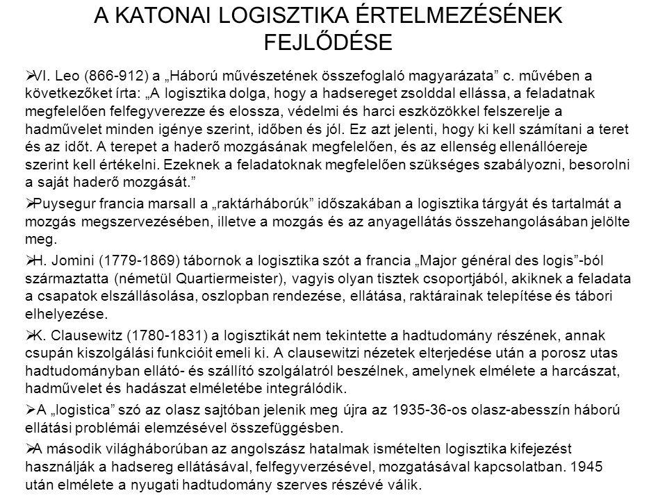 A KATONAI LOGISZTIKA ÉRTELMEZÉSÉNEK FEJLŐDÉSE