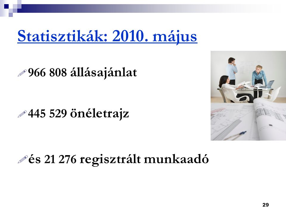 Statisztikák: 2010. május és 21 276 regisztrált munkaadó