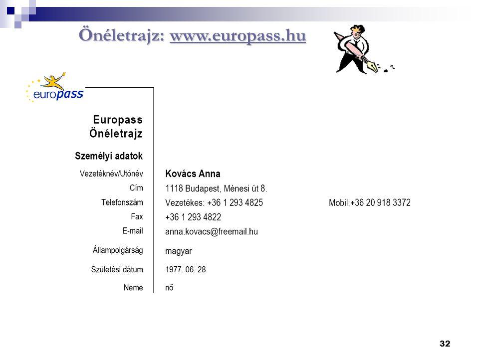 Önéletrajz: www.europass.hu