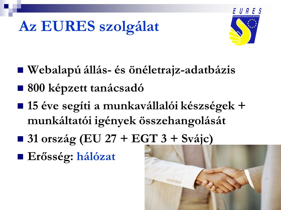 Az EURES szolgálat Webalapú állás- és önéletrajz-adatbázis